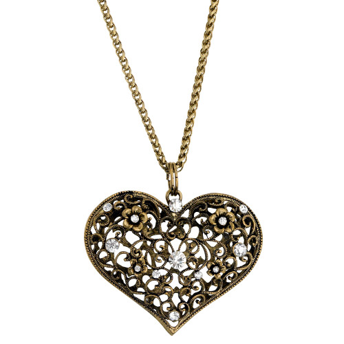Giant Puffed Filigree Heart Pendant