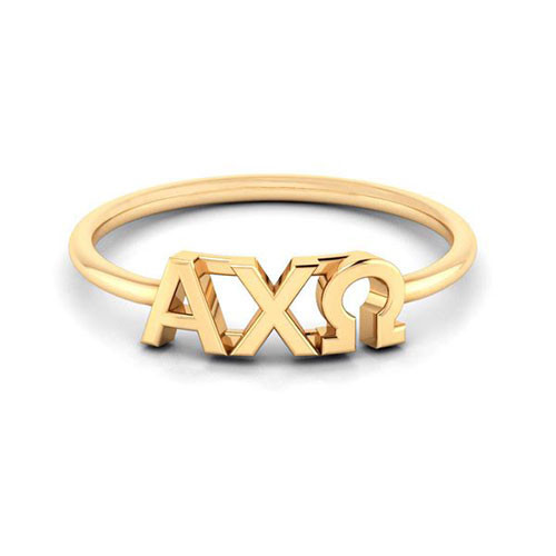 Alpha Chi Omega Gold Thin Band Letter Ring