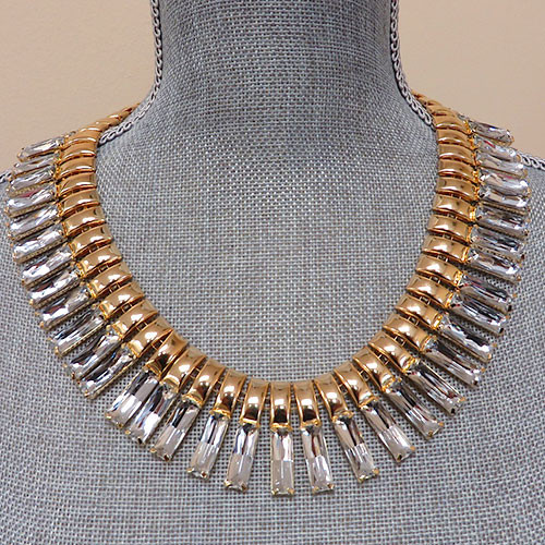 Gold and Crystal Inca Collar