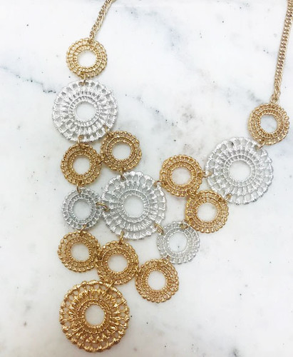 Lacey Silver and Gold Metal Link Flowers