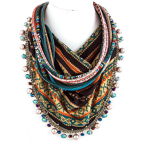 Bohemian Beads and Scarf Necklace