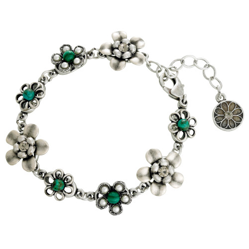 String of Silver and Turquoise Flower Bracelet