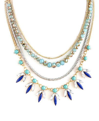 Navy Layered Linked Necklace