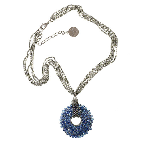 Crocheted Metal with Blue Crystals Necklace