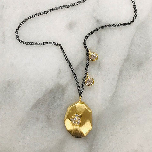 Gunmetal & Gold Nugget and Cubic Zirconia Necklace