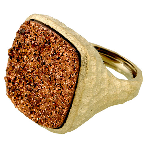 Large Square Rose Gold Druzy Ring