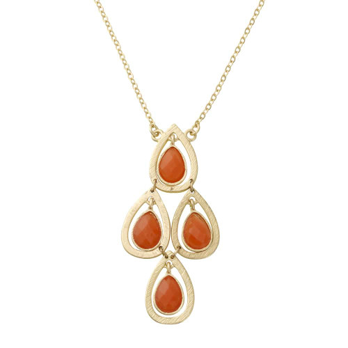 Orange Lotus Petal Dangling Necklace