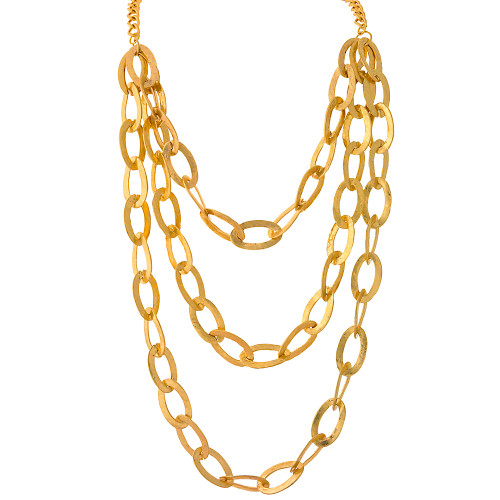 Textured Bib Necklace Gold