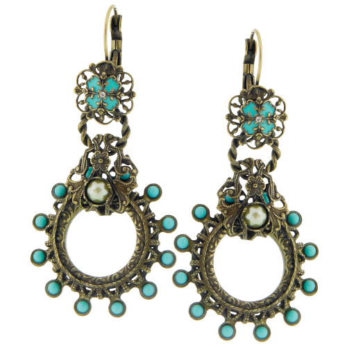 Old World Turquoise and Bronze Earring