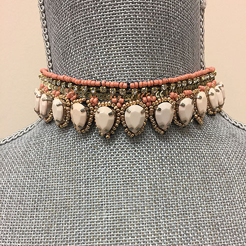 Light Pink, Coral and Gold Choker