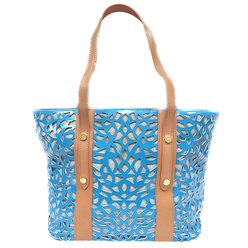 Sondra Roberts Laser Cut Dusty Blue Tote