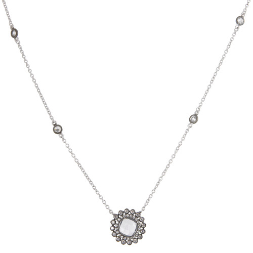 Freida Rothman's Rhodium Flower with Cubic Zirconia