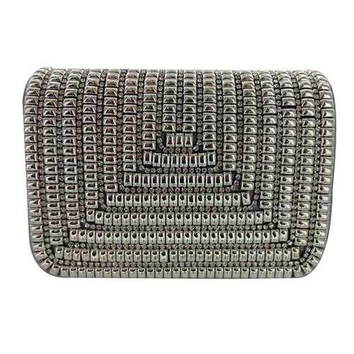 Sondra Roberts  Silver Satin Metallic Beaded Crossbody