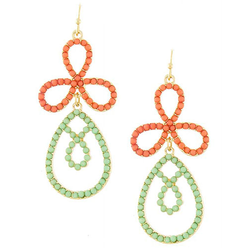 Beaded Mint Petal Drop Earrings
