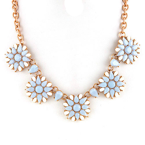 Periwinkle Blue and White Floral Necklace