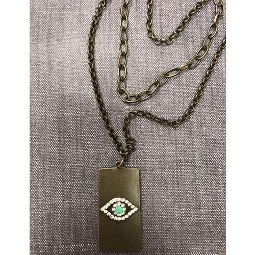 Triple Chain Evil Eye Dog Tag necklace