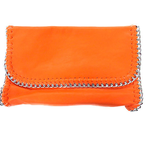 Bright Orange Chain Edged Clutch