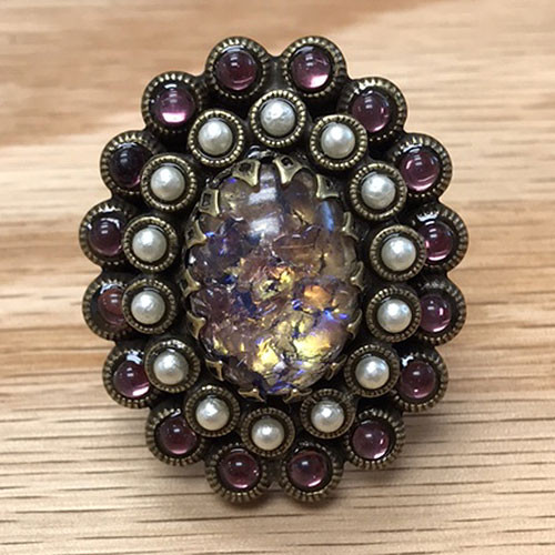 Amethyst Art Glass Ring