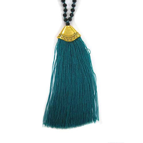 Jet Crystals & Green Fan Tassel Necklace 1
