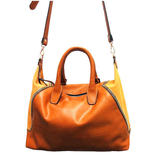Sondra Roberts Nappa Leather and Suede Satchel In Camel