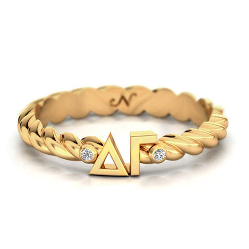 Delta Gamma Gold Pave Twist Letter Ring