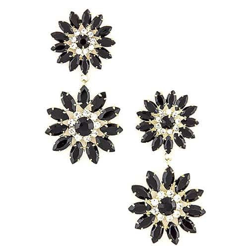 Jet Black Floral Earrings