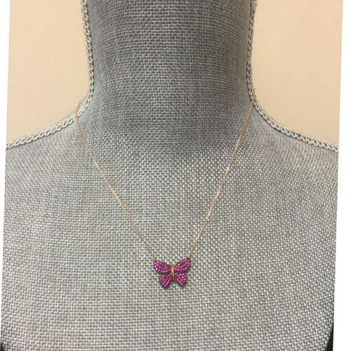 Fuchsia Pave Crystal Butterfly Necklace