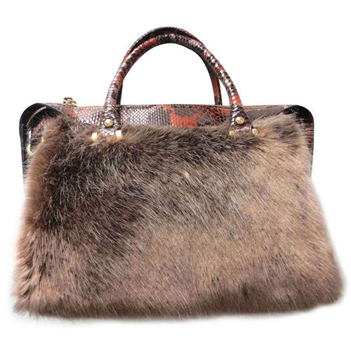 Sondra Roberts Faux Fur and Snake Satchel