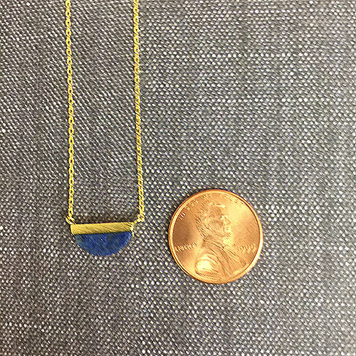 Half Inch, Half Moon Lapis Necklace