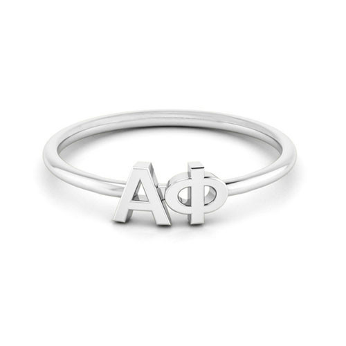 Alpha Phi Silver Thin Band Letter Ring