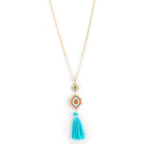 Turquoise Medallion and Tassel Necklace