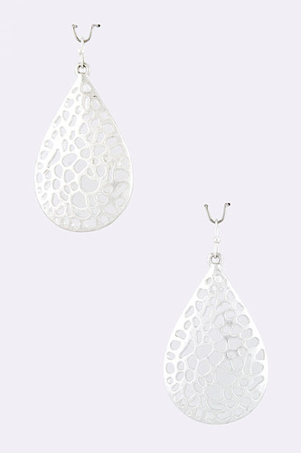 Laser Cut Dew Drop Earrings