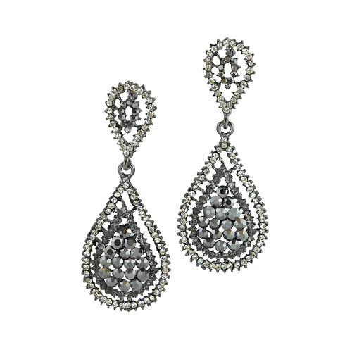 Hematite Gray Crystal Pear-Shaped Drops
