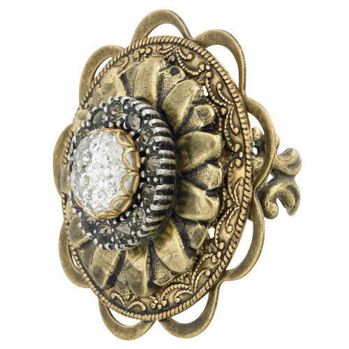 Large Vintage Button Ring