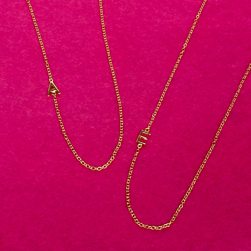 Mini Vermeil Gold Sideways Initial Letter Necklaces