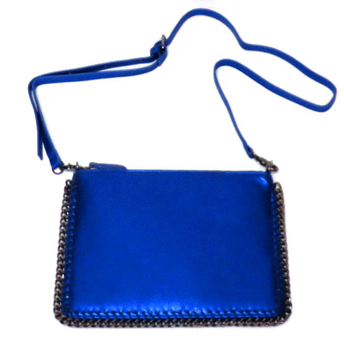 Metallic Blue Chain Border Bag