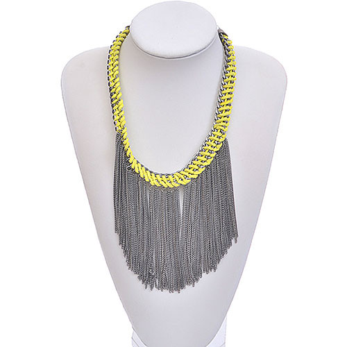 Gunmetal Rock Star Fringe Necklace 1