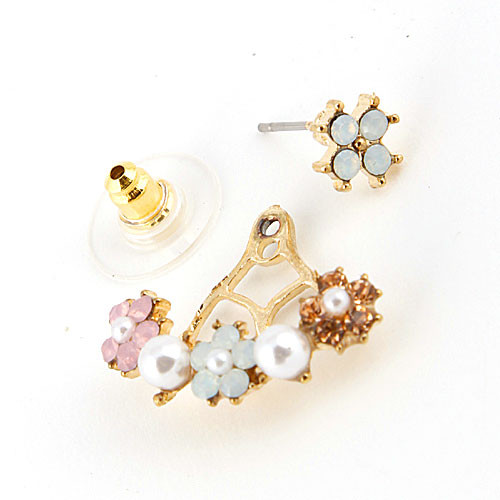 Pearl and Flower Front and Back Design Earring