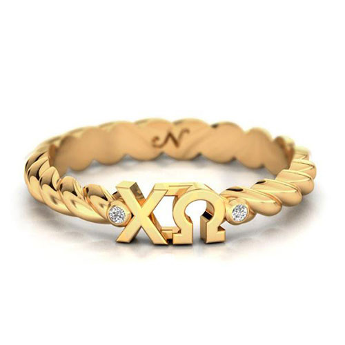 Chi Omega Gold Pavå© Twist Letter Ring