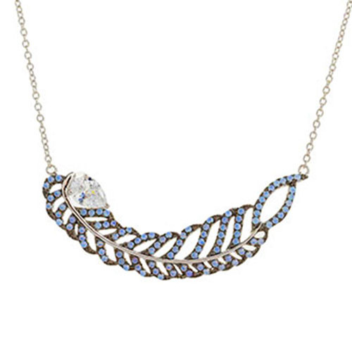 Blue Opal Elongated Leaf Necklace
