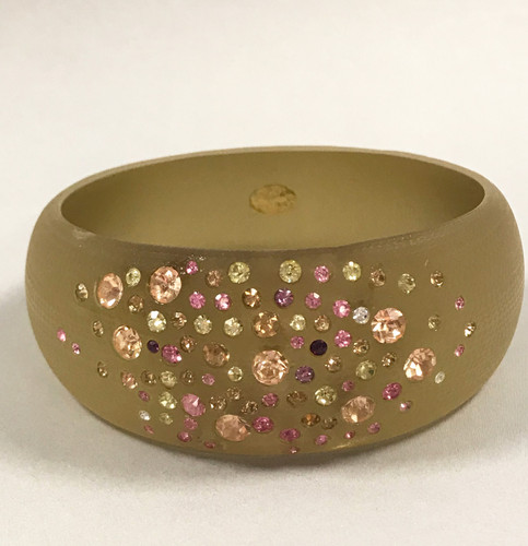 Golden Yellow Lucite Bangle with Inset Crystals