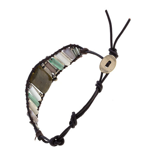 Earth Stone Leather Bracelet