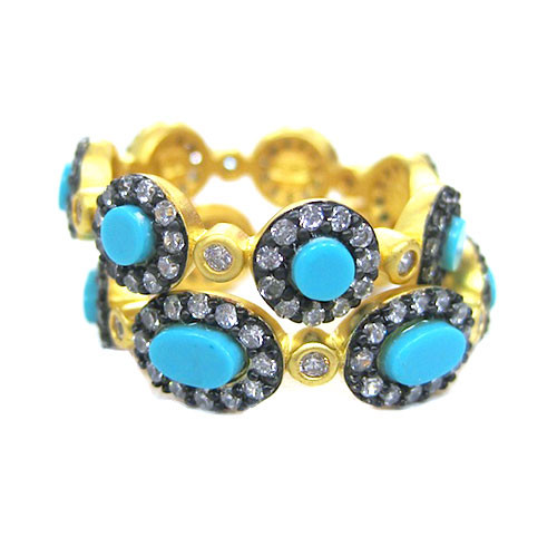 Freida Rothman's Set of Two Turquoise Stackable's