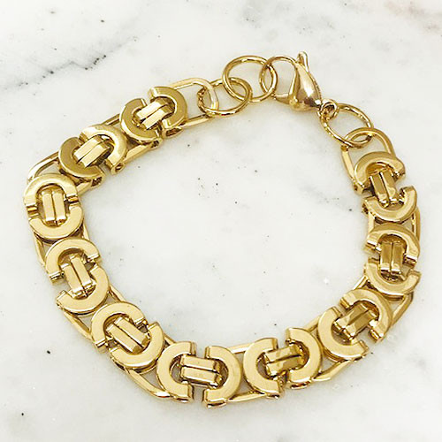 Grecian Gold Flat Linked Chain Bracelet