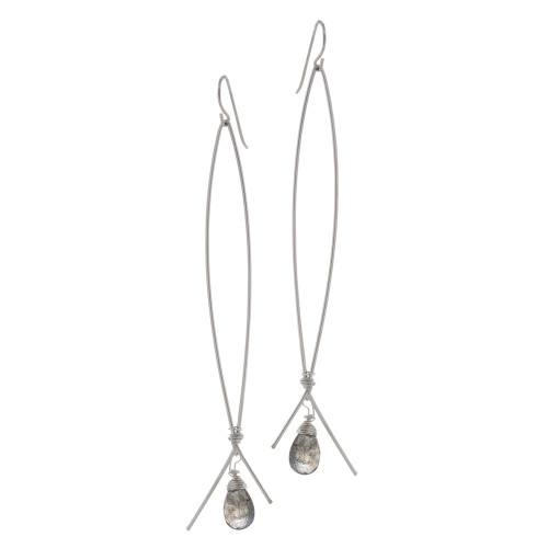 Zia's Elongated Hoop with Labradorite Quartz Earrings