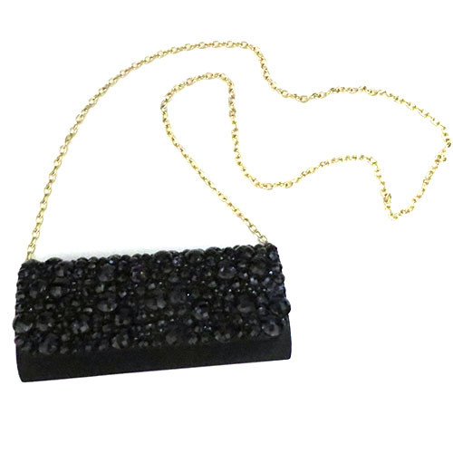 Sondra Roberts Faceted Jet Black Stone Clutch