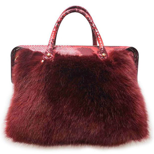 Sondra Roberts Faux Fur and Snake Satchel 1