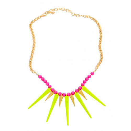 Zoe's Vibrant Yellow Spiked Necklace