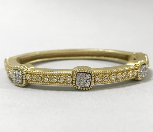 Matte Gold Bracelet with Three Square Pave Stations