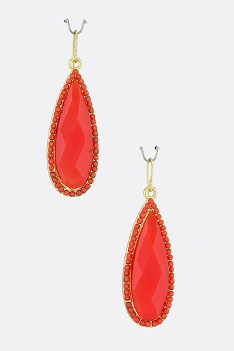 Red Teardrop Earring